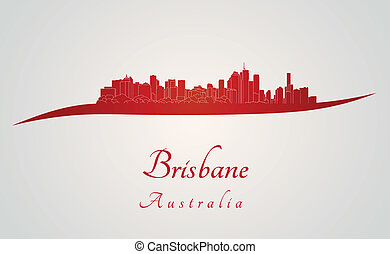 Brisbane skyline in red and gray background in editable vector file