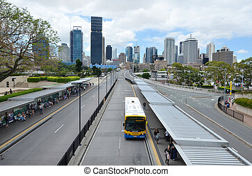 brisbane skyline, -queensland, australia
