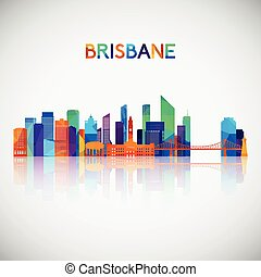Brisbane skyline silhouette in colorful geometric style.