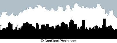 Skyline silhouette of the city of Brisbane, Queensland, Australia.