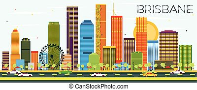 Brisbane Skyline with Color Buildings and Blue Sky. Vector Illustration. Business Travel and Tourism Concept with Modern Architecture. Image for Presentation Banner Placard and Web Site.