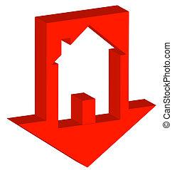 briser, logement, marché