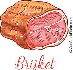 Brisket bacon meat vector sketch isolated icon - Brisket ...