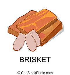 brisket. Collection of meat products. Vector illustration...