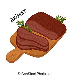 Brisket. Meat delicatessen on a wooden cutting board. Slices...
