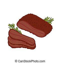 Brisket. Meat delicatessen on white background. Slices of ...