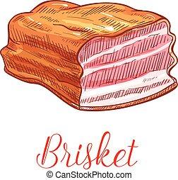 Brisket meat vector sketch isolated icon - Brisket vector ...