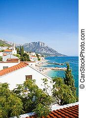 brist, dalmatien, kroatien, -, überblick, über, der, schöne , sandstrand, von, brist