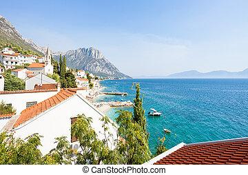 brist, dalmatien, kroatien, -, warte, auf, der, schöne , bucht, von, brist