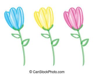 Colorful bright tulips made using bristle brush.
