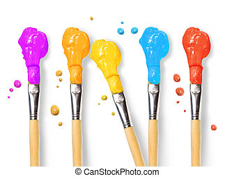 Bristle brushes full of different colored paints on white