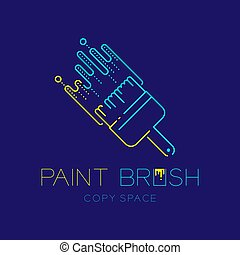 Bristle paint brush logo icon outline stroke set dash line design illustration isolated on dark blue background with Paint Brush text and copy space, vector eps 10