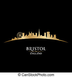 Bristol England city skyline silhouette black background -...