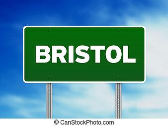 bristol, signe, angleterre, route, -, vert