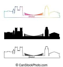 Bristol skyline linear style with rainbow