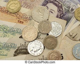 británico, esterlina, libras