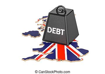 británico, nacional, deuda, o, presupuesto, déficit, financiero, crisis, concepto, 3d, interpretación