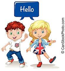 británico, niño y niña, refrán, hola