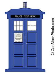 británico, policía, caja