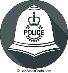 británico, policía, casco, plano, icono