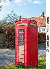 britânico, telecom, caixa telefone, em, um, suffolk, vila, reino unido