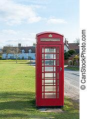 britânico, telecom, caixa vermelha telefone, em, um, suffolk, vila, reino unido