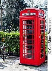 britânico, telecoms, caixa telefone, perto, um, parque, em, londres
