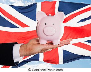 brit, üzletember, birtok, piggybank