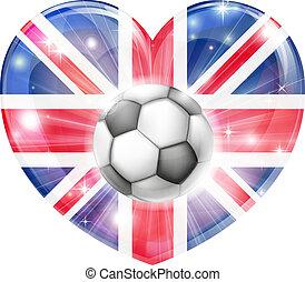 brit zászló, futball, szív, lobogó