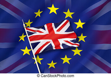Britain and the European Union - Flag of Europe and the flag...