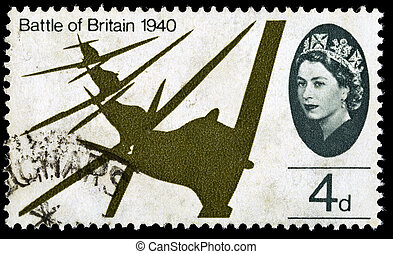 UNITED KINGDOM - CIRCA 1965: A used postage stamp printed in Britain celebrating the 25th Anniversary of the Battle of Britain showing a Flight of Supermarine Spitfires, circa 1965