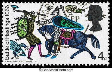 UNITED KINGDOM - CIRCA 1966: A used postage stamp printed in Britain celebrating the 900th Anniversary of the Battle of Hastings, showing a scene from the Bayeaux Tapestry, circa 1966