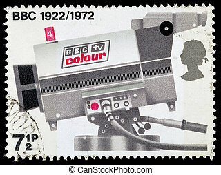 Set of used postage stamps printed in Britain celebrating the 50th Anniversary of the BBC, circa 1972