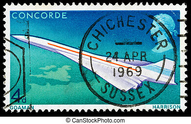 UNITED KINGDOM - CIRCA 1969: A used postage stamp printed in Britain celebrating the First Flight of Concorde, circa 1969