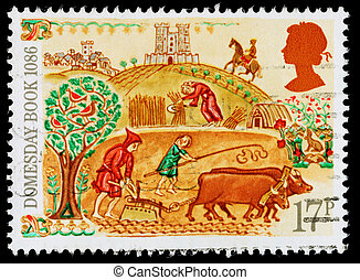 UNITED KINGDOM - CIRCA 1986: A used postage stamp printed in Britain celebrating the 900th Anniversary of the Domesday Book in the Year 1086, showing Peasants working in the Field, circa 1986