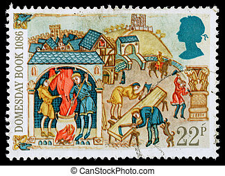 UNITED KINGDOM - CIRCA 1986: A used postage stamp printed in Britain celebrating the 900th Anniversary of the Domesday Book in the Year 1086, showing Freemen Working at Town Trades, circa 1986