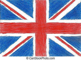 Britain flag, pencil drawing illustration kid style photo image
