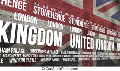 Britain Flag Tourism Attractions - Scrolling banner with the...
