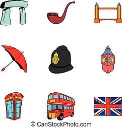 Britain icons set, cartoon style