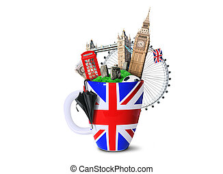 Large cup with a British flag and attractions
