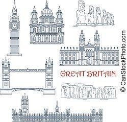 britain, tiltrækninger, lineære, ikon, chile, great