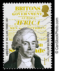 UNITED KINGDOM - CIRCA 2007: A used postage stamp printed in Britain celebrating the Bicentenary of the Abolition of the Slave Trade showing William Wilberforce, circa 2007