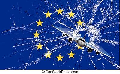 Britain's star shot from EU flag, vector illustration