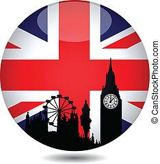 britannique, bouton, drapeau