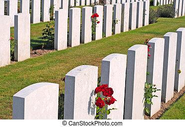 britannique, première guerre mondiale, cimetière, dans, poelkapelle, près, ypres
