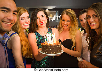 brithday, uno, celebrar, cumpleaños, tenencia, pastel,...