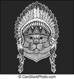 Brithish noble cat Male Cool animal wearing native american...