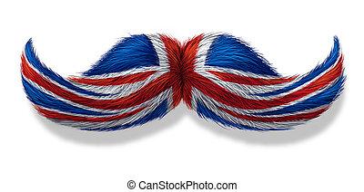 britisch, schnautzbart, symbol