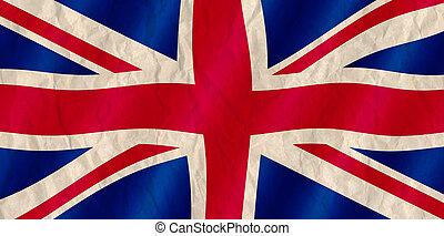 britisch, union jack, fahne, altes , zerknittert, effect.