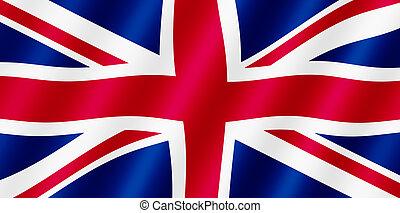 britisch, union jack, fahne, blasen wind, illustration.